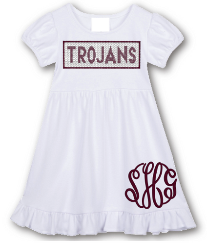 Trojans Faux Smocked Ruffle Dress