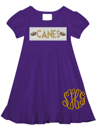 Canes Faux Smocked Ruffle Dress