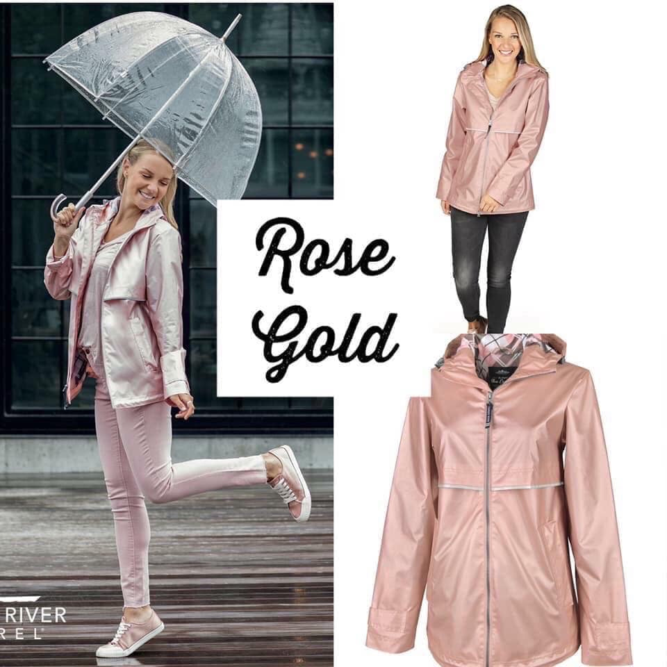 Rose Gold Charles River New Englander with Embroidery