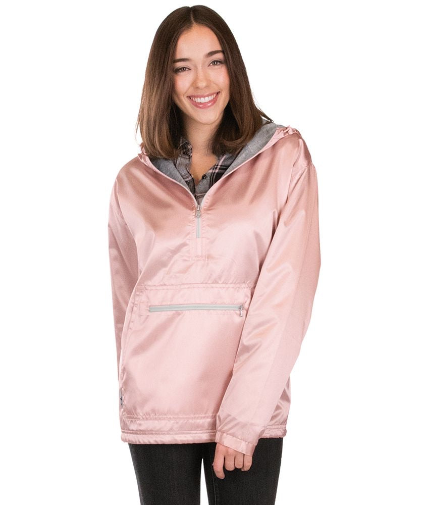 Rose Gold Charles River Rain Pullover with Embroidery