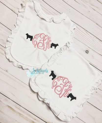 Cow Monogram Bib and Burp Cloth Ruffle or Solid