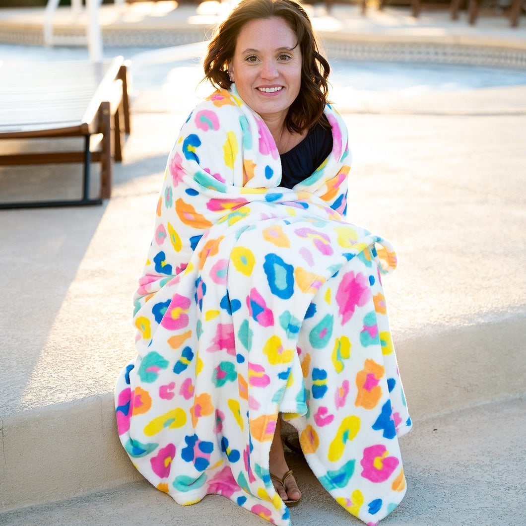 Rainbow Leopard Oversized Throw Blanket