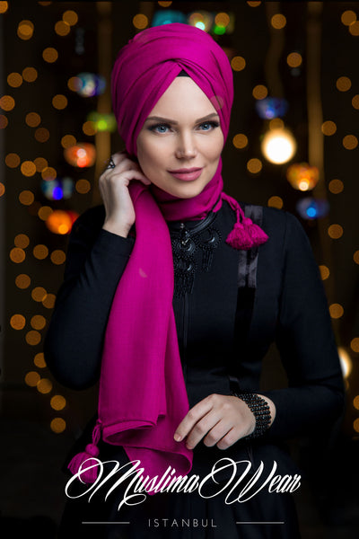 Queen Hijab Emerald Fuchsia - Muslima Wear 1