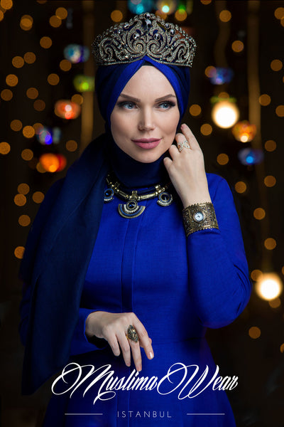 Muslima Wear Queen Hijab Navy Blue 1