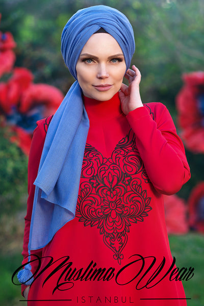 Queen Hijab Emerald Indigo Blue - Muslima Wear 1