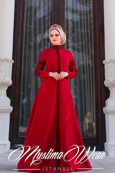 Muslima Wear Mehendi Dress Red