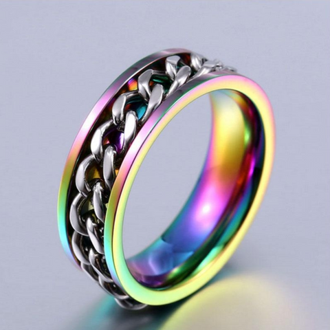 Rotatable 'Chain of Strength' LGBTQ Pride Ring