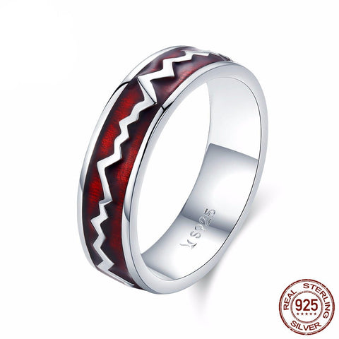 925 Sterling Silver Nurse Ring (Red and Silver Themed)