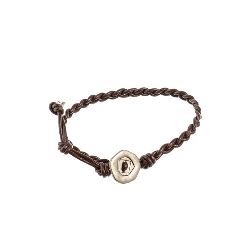 Twisted Brown Leather Bracelet