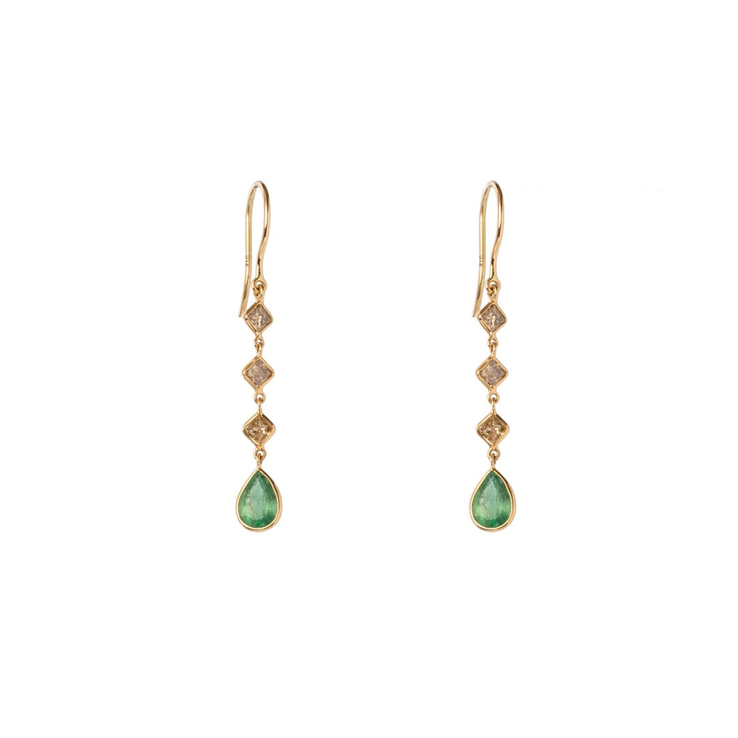 Emerald & Diamond Slice 3 Drop Earrings