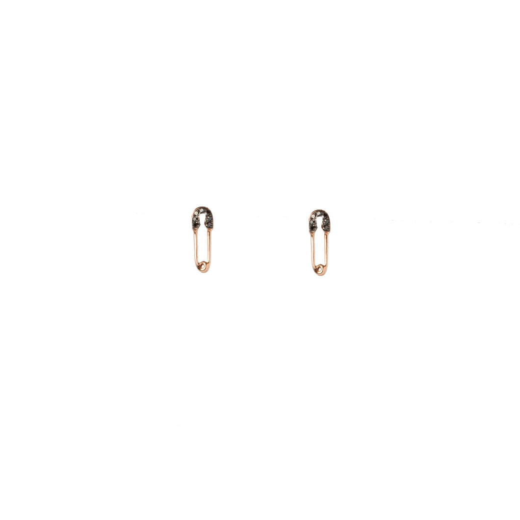 Rose Gold Safety Pin Diamond Studs