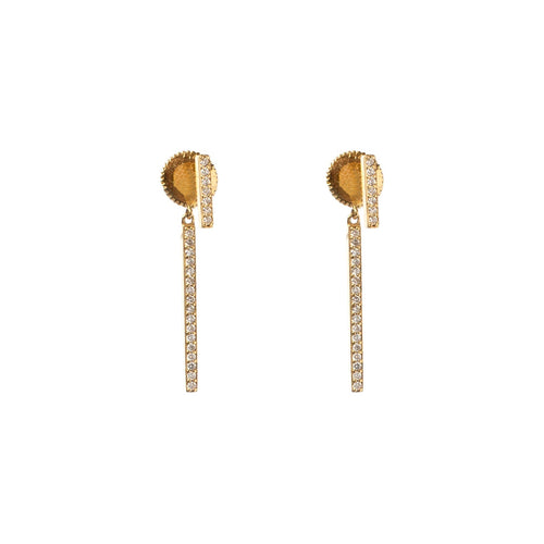 Diamond Bar Drop Earrings Rose Gold