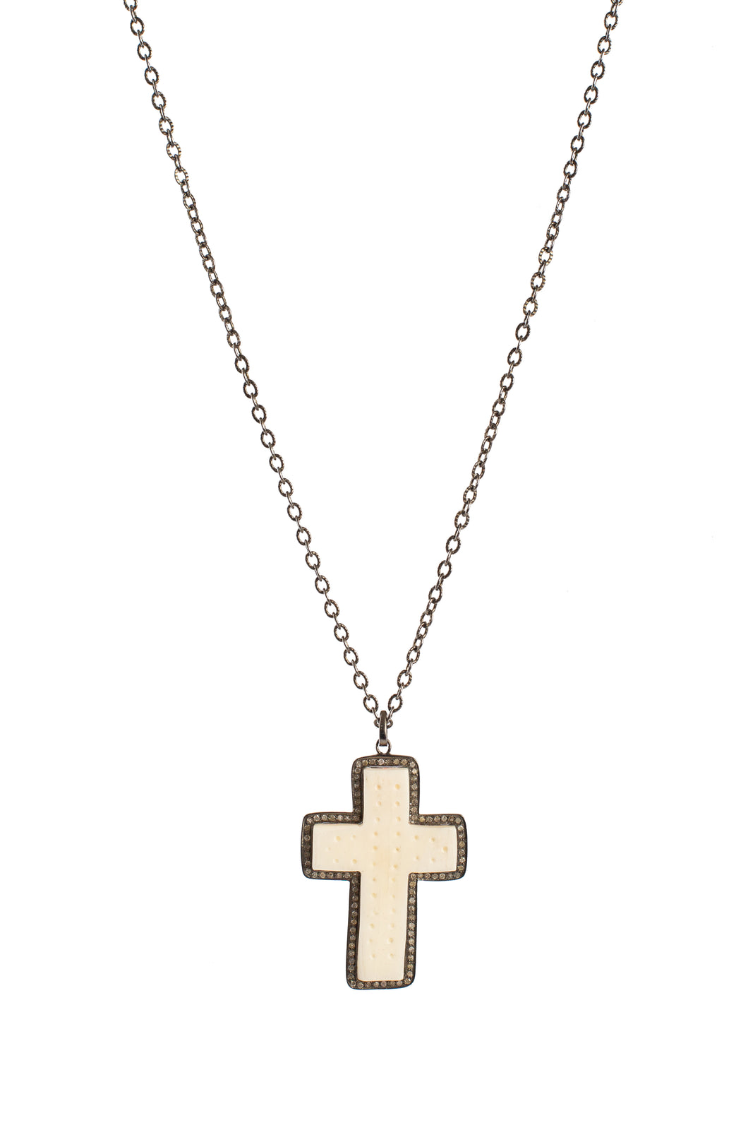 White Bone Cross Pendant