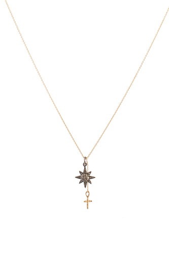 Sun & Cross Diamond Pendant