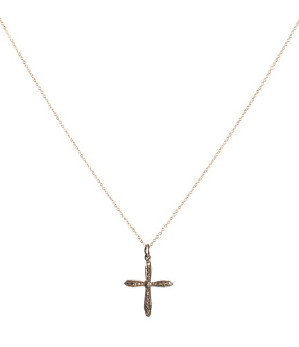 Raw Diamond Cross Pendant