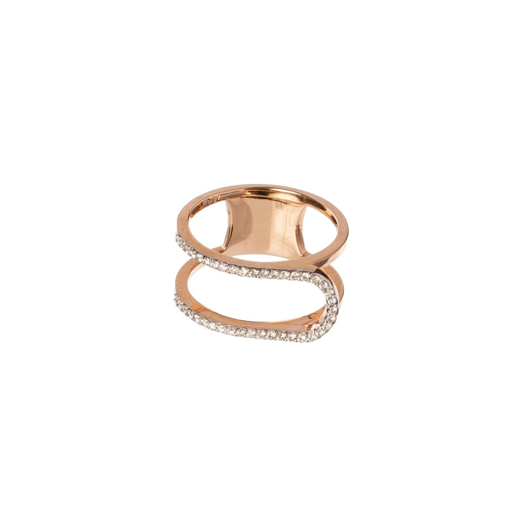 U-Turn Pave White Diamond Ring