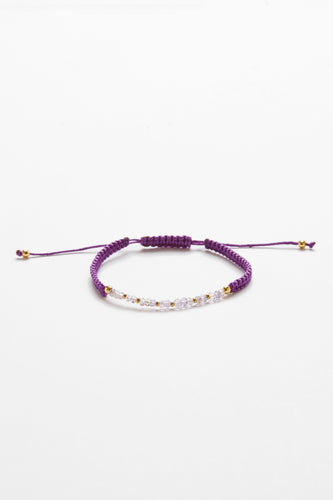 Amethyst & Yellow Gold Filled Bead Bracelet