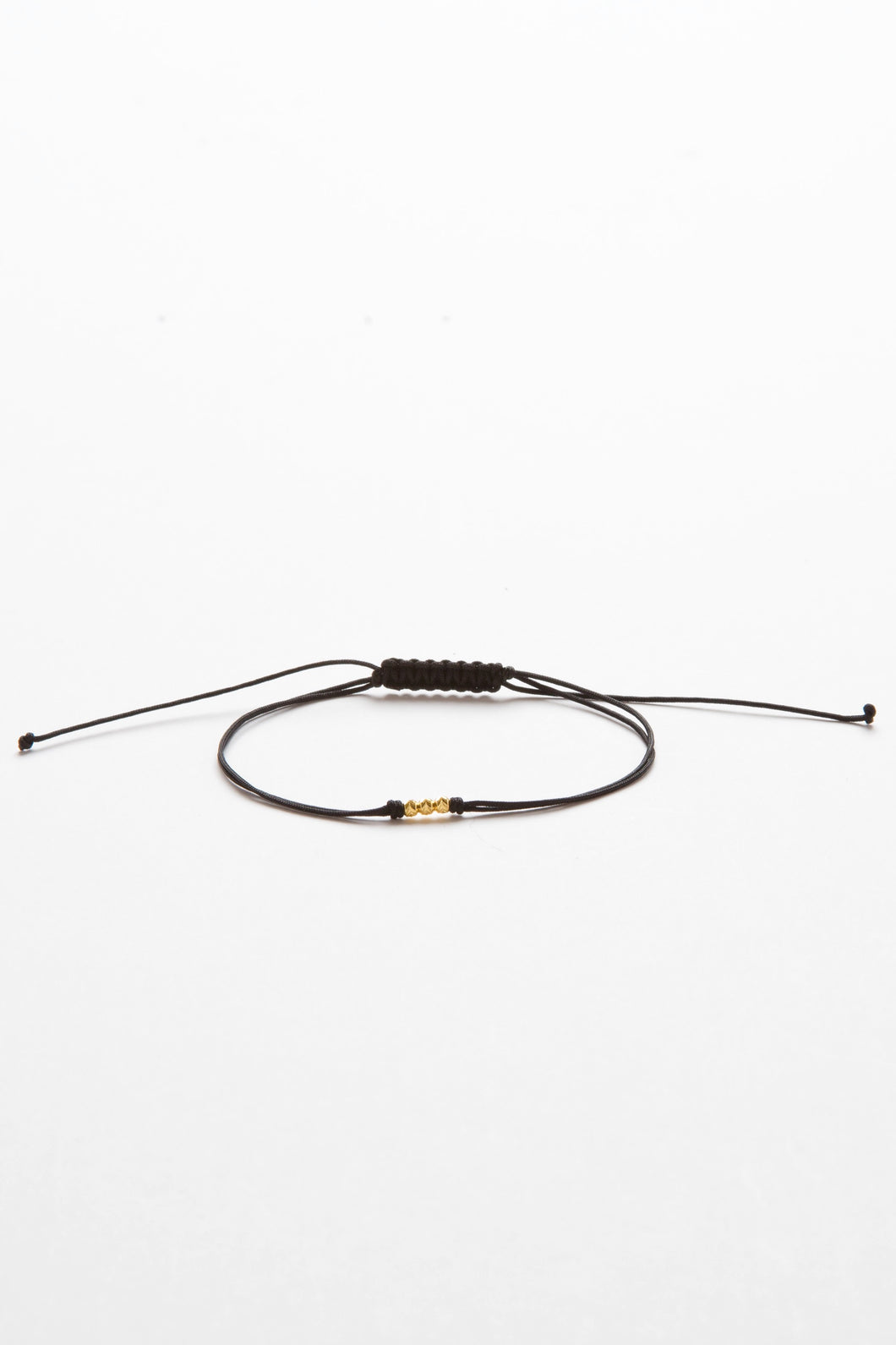 Gold Bead Black String Bracelet
