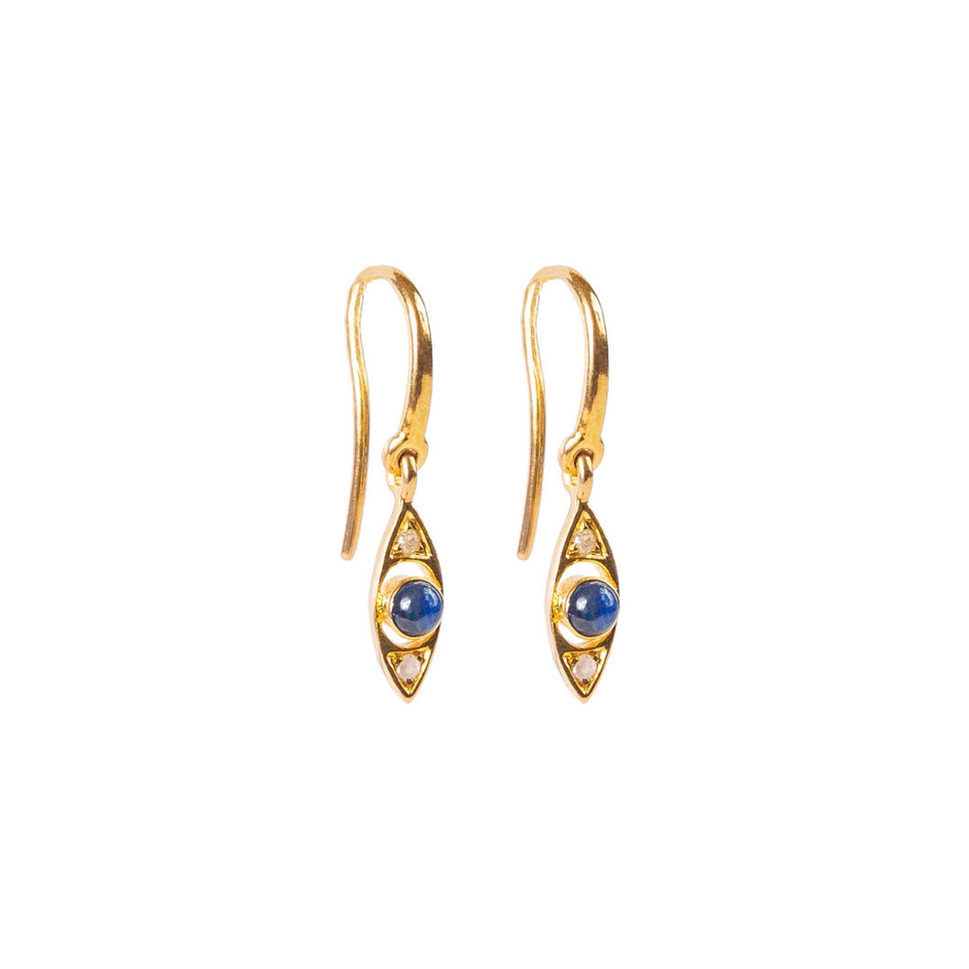 Protective Eye Blue Sapphire Earrings