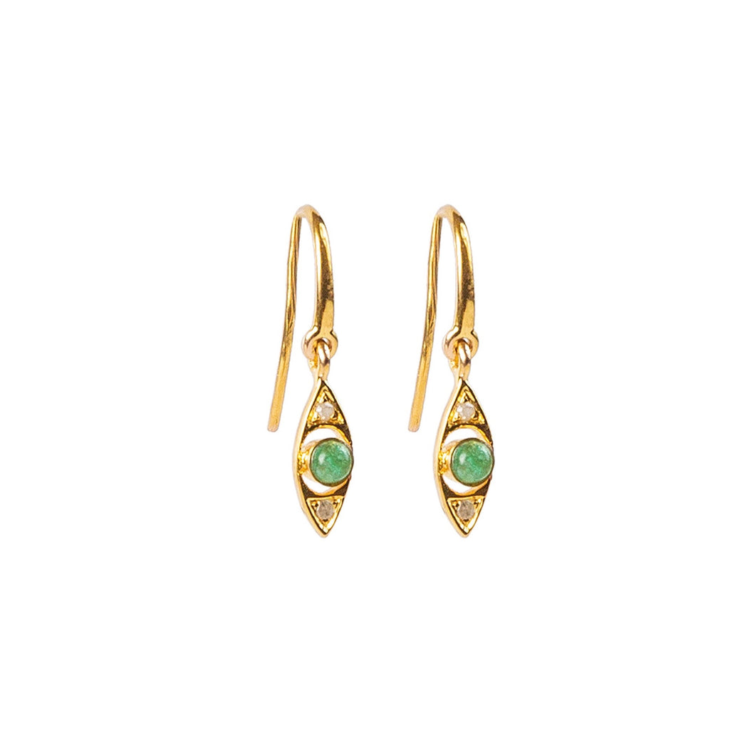 Protective Eye Green Emerald Earrings