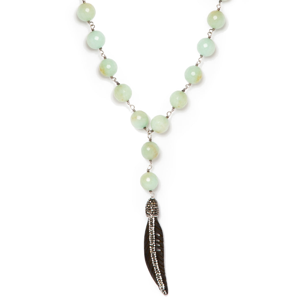 Mint Green Jade-Beaded Black Feather Necklace