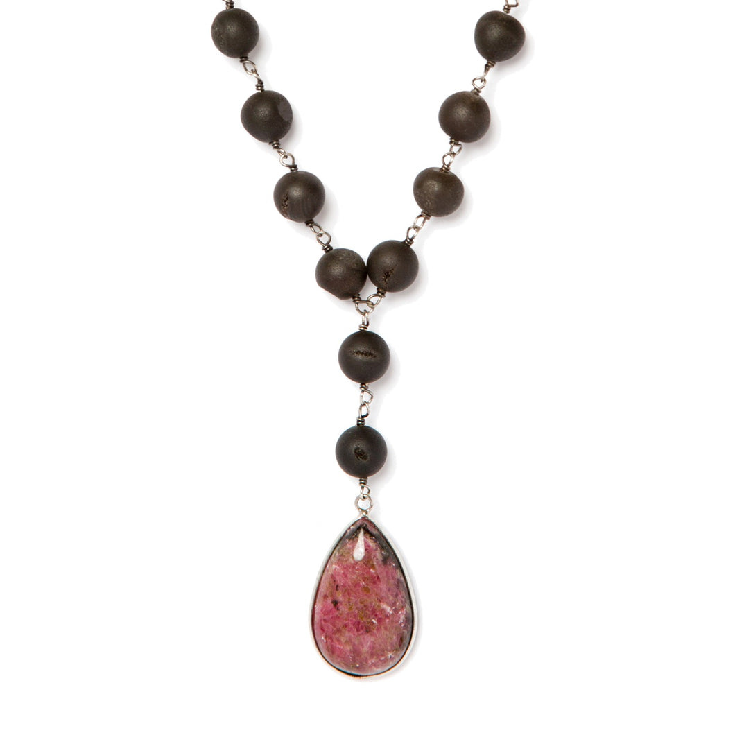 Rhodonite Pink Pendant Necklace