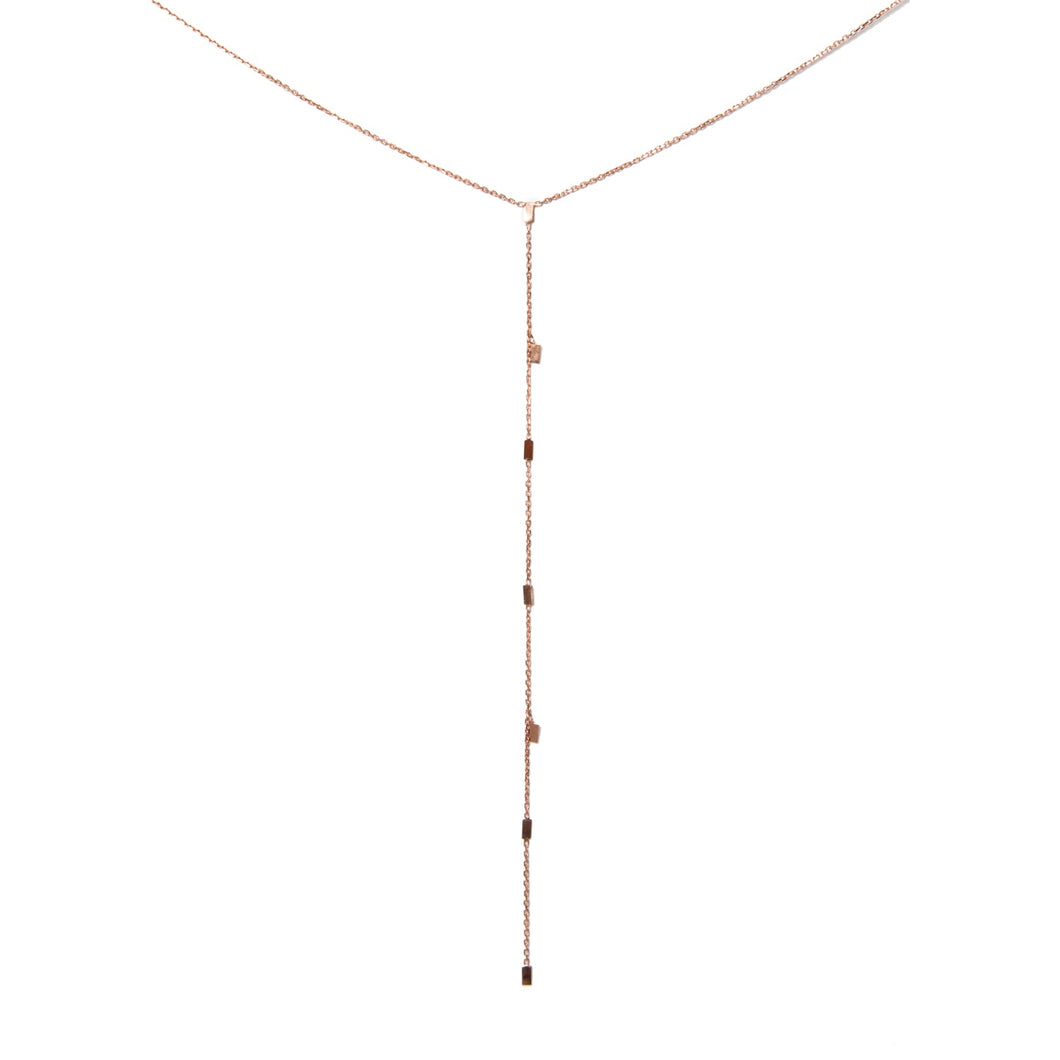 Rose Gold Rain Drop Lariat Necklace