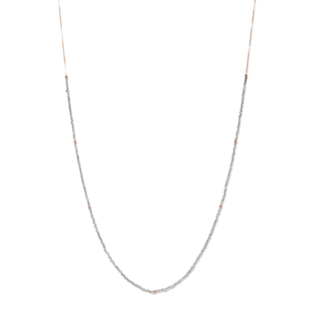 Layering Polished Moonstone & Rose Gold Filled Necklace