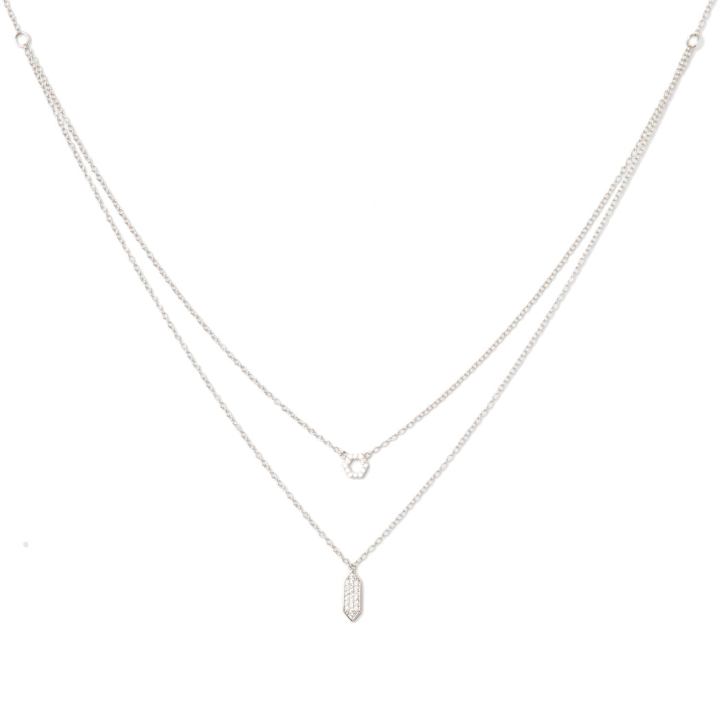 Silver Geometric Layered Necklace