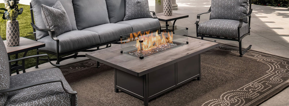"OW Lee 30"" x 50"" Occasional Height Capri Fire Pit Table"