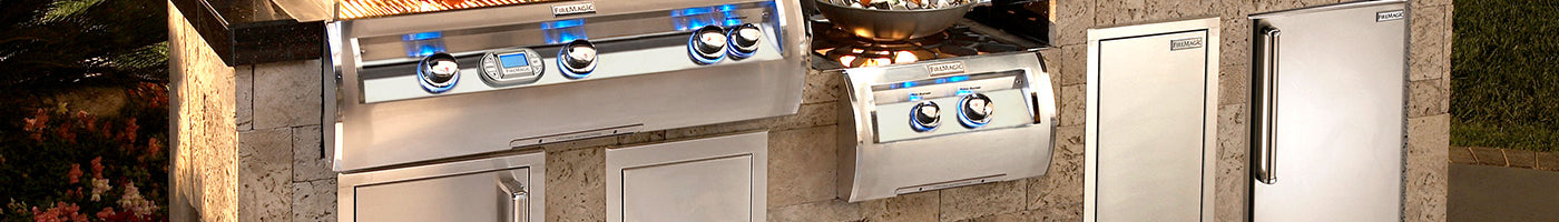 a closeup of the front readouts of a highend gas grill and the other outdoor kitchen components.