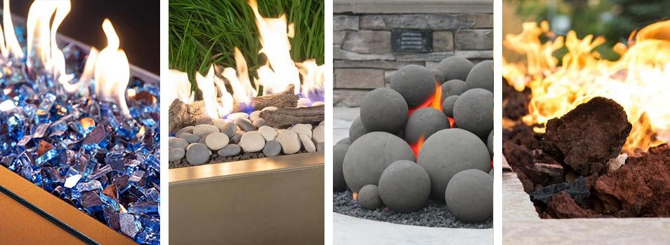 Fire glass, river stones, fire balls, and lava rock over a fire pit
