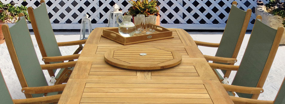 Gala Double Leaf Expansion Table with Florida Chairs in Moss and Teak Lazy Susan GALA64_FLMS_LZYS