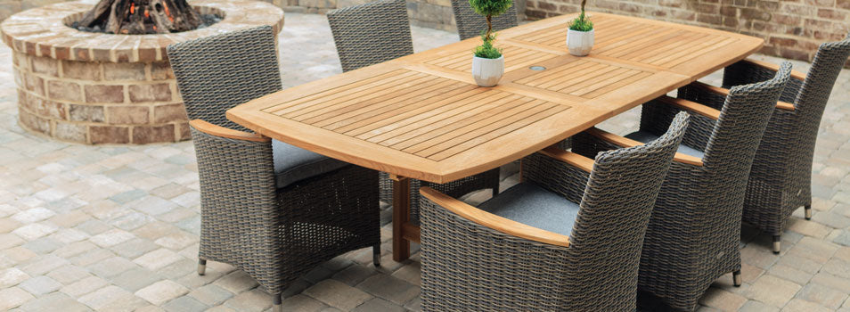 "72""-96"" Rectangular Family Expansion Teak Table with Helena Wicker Chairs in Black with White FER8_HEFWBL"