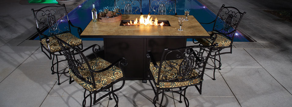 San Cristobal Swivel Counter Stool with Arms - Copper Canyon with Garden Trove Chestnut Cushions with Santorini Rectangle Counter Height Fire Pit- Copper Canyon 653-SCS-SP40-GL01C_5110-4272K-SP40