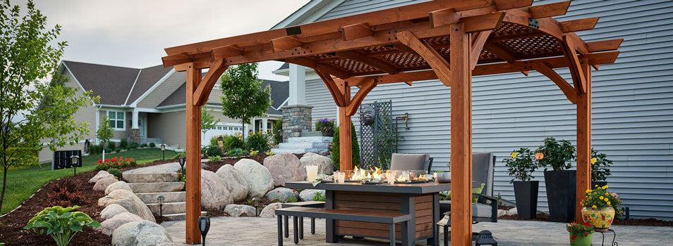 Sonoma Wood Pergola in Redwood with Kenwood Linear Dining Height Gas Fire Pit Table SONOMA1216-R_KW-1242-K