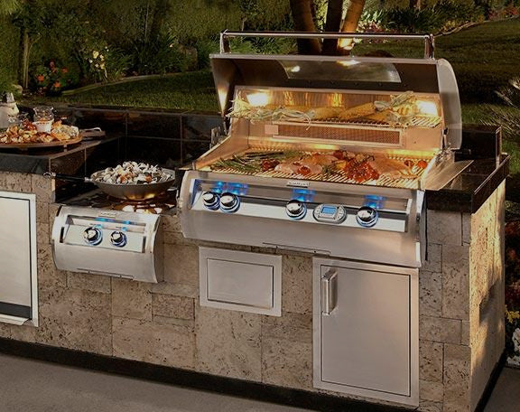 A grill hood is lit and open to show differences in different types of grills