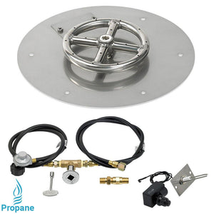 "12"" Round Stainless Steel Flat Pan with Spark Ignition Kit (6"" Ring) - Propane"