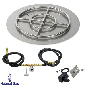 "24"" Round Stainless Steel Flat Pan with Spark Ignition Kit (18"" Ring) - Natural Gas"