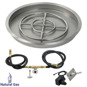 "25"" Round Drop-In Pan With Spark Ignition Kit (18"" Fire Pit Ring) - Natural Gas"