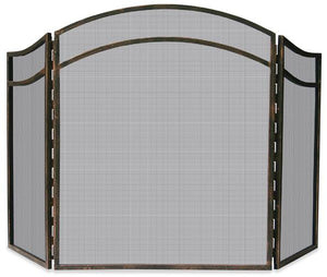 3 Fold Antique Rust Finish Wrought Iron Screen With Arch Top - Starfire Direct
