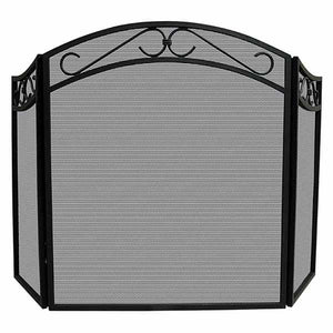 3 Fold Black Wrought Iron Arch Screen with Scrolls - Starfire Direct
