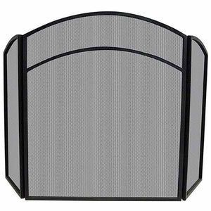 3 Fold Black Wrought Iron Arch Top Screen - Starfire Direct