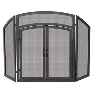 3 Fold Black Wrought Iron Arch Top with Doors - Starfire Direct