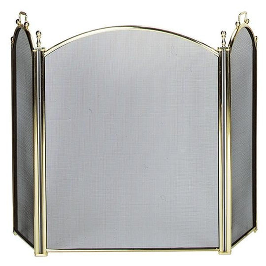 3 Fold Large Diameter Polished Brass Finish Screen with Woven Mesh - Starfire Direct