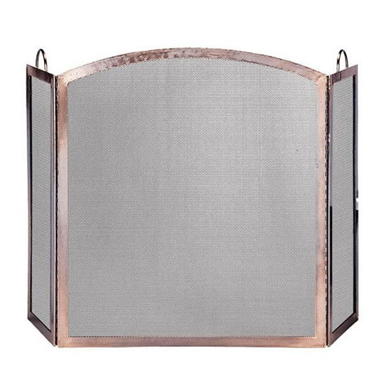 3 Panel Antique Copper Finish Screen with Arched Center Panel - Starfire Direct