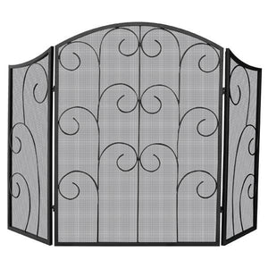 3 Panel Black Wrought Iron Screen with Scroll - Starfire Direct