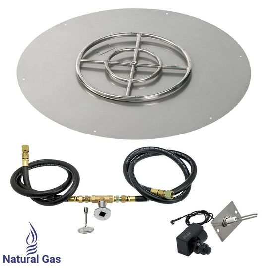 "30"" Round Stainless Steel Flat Pan with Spark Ignition Kit (18"" Ring) - Natural Gas"