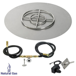 "36"" Round Stainless Steel Flat Pan With Spark Ignition Kit (18"" Ring) - Natural Gas"