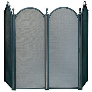 4 Fold Large Black Finish Screen with Woven Mesh - Starfire Direct